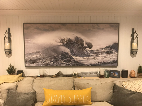 """82x41 """"Angry Sea"""" canvas float in reclaimed"""