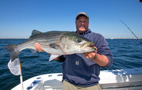 Tom Lynch holds a nice striper aboard Ted Tafaro's REEL FREEDOM (credit: Ted Tafaro/Angry Fish)