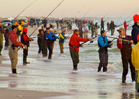 Most crowded day of surf fishing for striped bass in NJ's history.